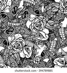 Vector Black and White Skull Roses Seamless Pattern