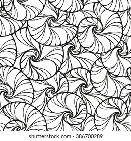 Vector black and white snails shells seamless pattern.