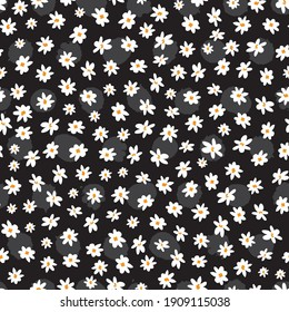 Vector black and white sparse scattered small fun daisy flowers repeat pattern with grey polka dot background. Suitable for textile, gift wrap and wallpaper.