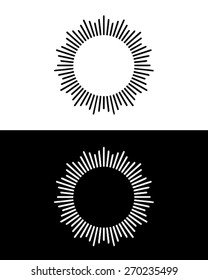 Vector black and white sun ray set