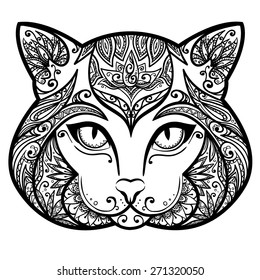 Vector Black and White Tattoo Cat Illustration