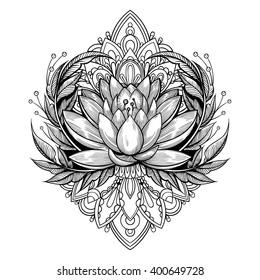 Vector Black and White Tattoo Flower Illustration