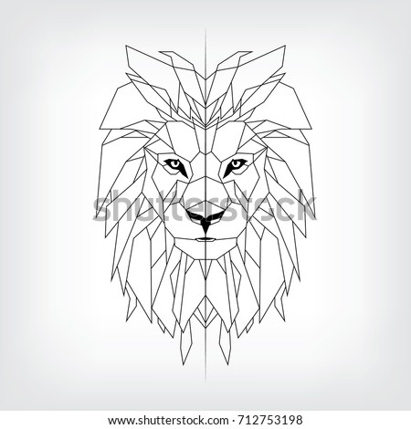 Vector Black White Tattoo King Lion Stock Vector Royalty Free