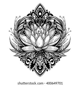 Vector Black and White Tattoo Lotus Illustration