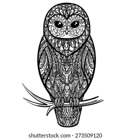 Vector Black and White Tattoo Owl Illustration