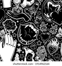 Vector Black and White Tattoo Seamless Pattern