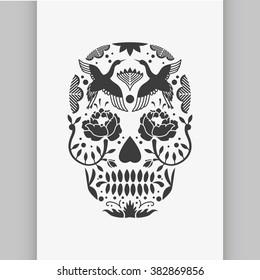 Vector Black and White Tattoo Skull Illustration. Vector poster or t-shirt print.