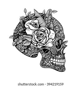 Vector Black and White Tattoo Skull Roses Illustration