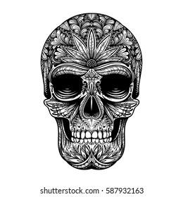 Vector Black and White Tattoo Skull Illustration on White Background