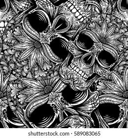 Vector Black and White Tattoo Skull Seamless Pattern