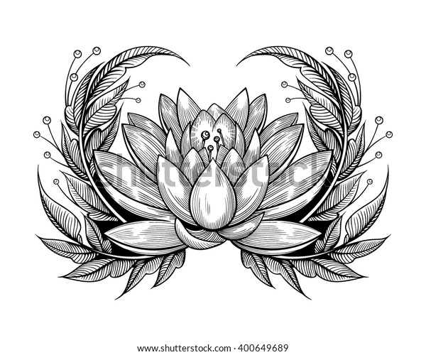 Water Lily Stencil Black And White: Vector Black White Tattoo Water Lily Stock Vector (Royalty