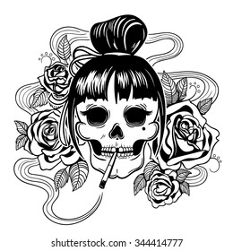 Vector Black and White Tattoo Woman Skull Illustration