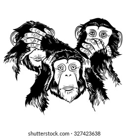 Vector Black and White Three Monkey Illustration