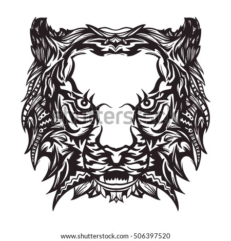 Vector Black White Tiger Tattoo Style Stock Vector Royalty Free