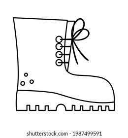 Vector black and white tourist boot illustration. Line hiking shoe icon with laces. Camping foot wear isolated on white background. Outline clothes for active outdoor holidays and tourism.