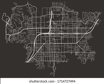 Vector black and white urban street map of El Cajon, California, USA with major and minor roads, highways