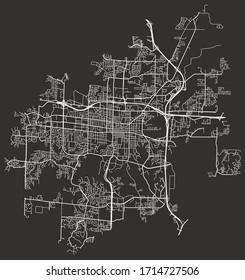 Vector black and white urban street map of Columbia, Missouri, USA with major and minor roads, highways