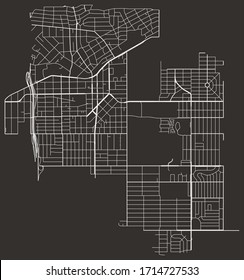 Vector black and white urban street map of Inglewood, California, USA with major and minor roads, highways