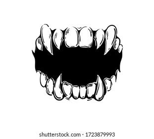 Vector black and white vampire mouth illustration.
