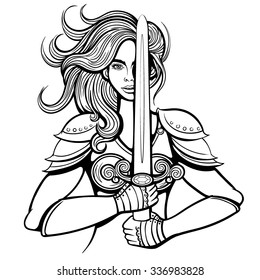 Vector Black and White Warrior Woman Illustration