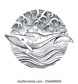 Vector Black and White Whale Submarine on the White Background