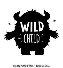 vector black and white wild child monster silhouette illustration print