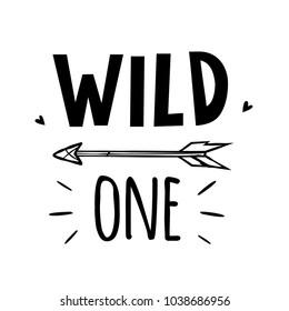 vector black and white wild one illustration print