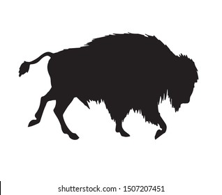 Vector black wild bison ox silhouette isolated on white background