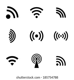 Vector black wireless icons set white background