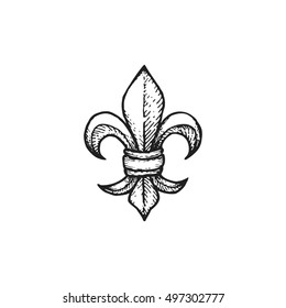 vector black work tattoo dot art hand drawn engraving Fleur De Lis vintage lily illustration isolated white background
