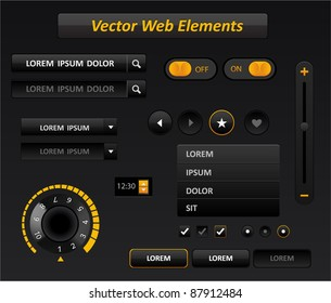 Vector black and yellow media player interface