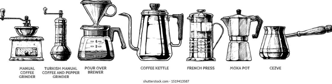 Vector black-and-white hand drawn illustration set of coffee preparation. 7 objects included: Manual and turkish grinder, Pour over brewer, kettle, French press, Moka pot, Cezve