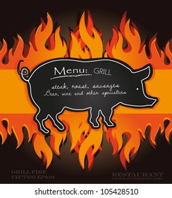 vector blackboard grill menu card pig fire board