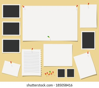 Vector blackboard with office supplies.