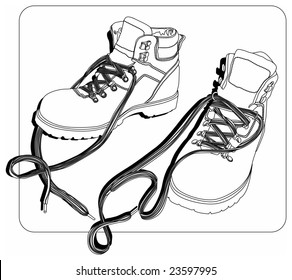 Vector black-white, line-art illustration of a pair of shoes/boots for working or hiking.