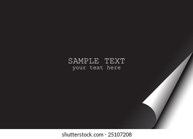 Vector - Blank black page with corner curl can be edited to include text message