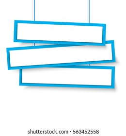 Vector blank blue 3 Line wonky hanging banners. Vector illustration.