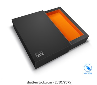 Vector blank box on white background with shadow.