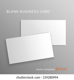 Vector blank business card isolated on gray background