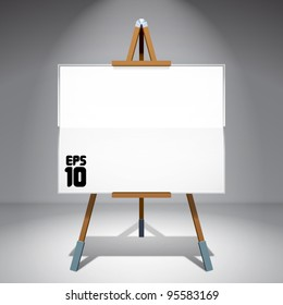 Vector Blank Canvas on Painting Easel