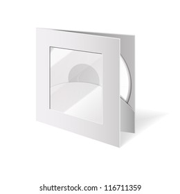 Vector blank cd box, case with window and disc