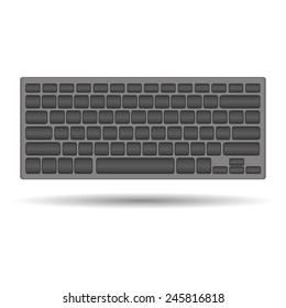 vector blank computer keyboard on white background with shadow