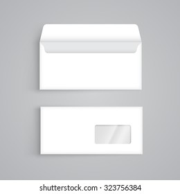 Vector blank envelope with window, front and back view. Corporate identity collection