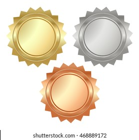 vector blank glossy serrated medals of gold, silver and bronze that can be used on diplomas, certificates