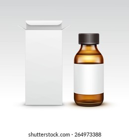 Vector Blank Medicine Medical Glass Bottle With Liquid Fluid Packaging Package Box Label Isolated on White Background