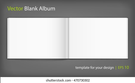 Vector Blank Of Open Album On Neutral Grey Background Using Mesh Template
