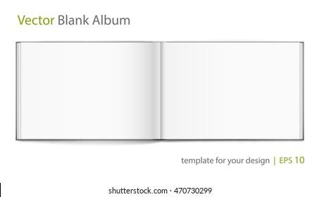 Vector blank of open hardcovered album on white background. Using mesh. Template
