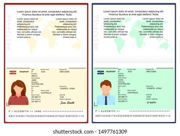 Vector Blank open international passport template. passport with sample personal data page. personal data page with woman photo and man photo . vector illustration