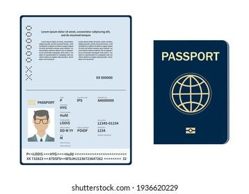 Vector Blank open passport template. International passport with sample personal data page. Vector illustration.