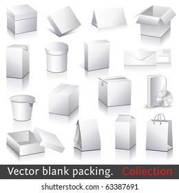 Vector blank packing collection. Set of white paper packaging and stationery elements. Dummies set to place your design on.